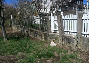 a retaining wall installed in Laconia