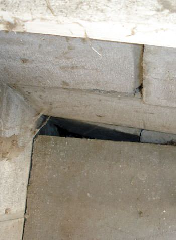 inward rotation of a foundation wall damaged by street creep in a garage in Lebanon