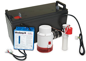 a battery backup sump pump system in South Burlington