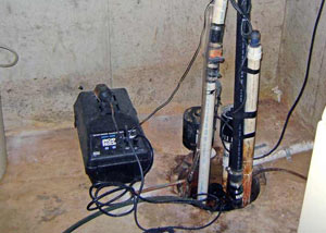Pedestal sump pump system installed in a home in Hanover