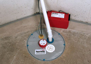 A sump pump system with a battery backup system installed in Plymouth