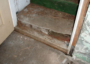A flooded basement in Springfield where water entered through the hatchway door