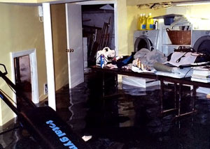 A laundry room flood in Claremont, with several feet of water flooded in.