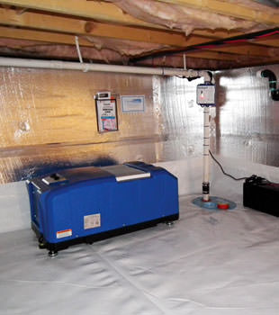 insulated crawl space with our energy efficient dehumidifier installed