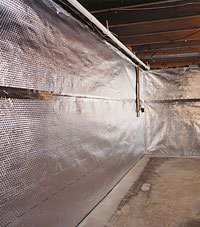 Radiant heat barrier and vapor barrier for finished basement walls in Montpelier, Vermont and New Hampshire